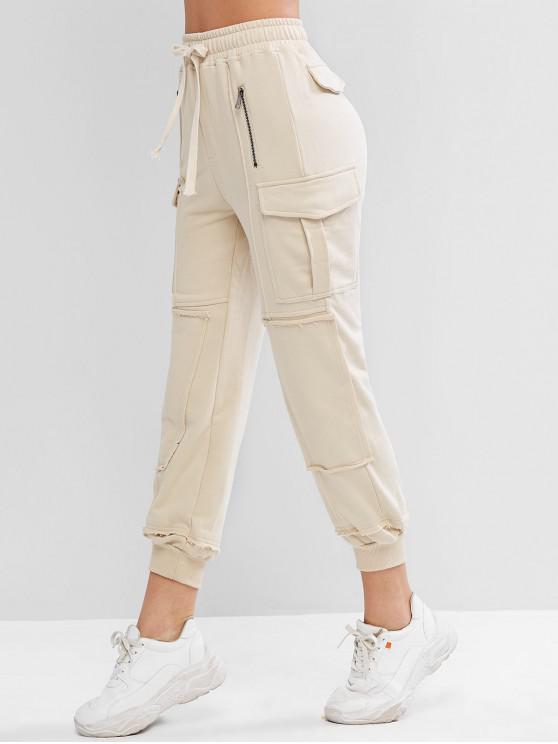 unique Drawstring Flap Pockets Zippered Jogger Pants - WARM WHITE S