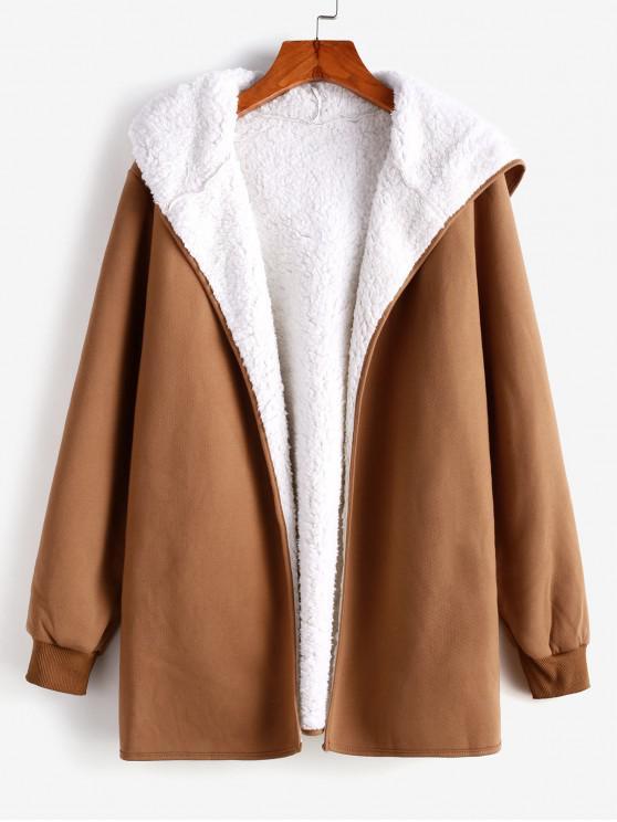 hot Fur Lining Hooded Coat - BROWN S