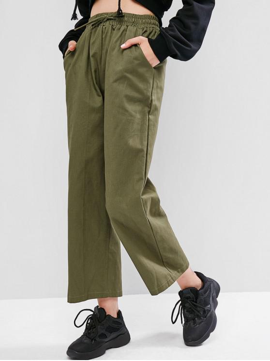 Pantalones anchos de bolsillo con cordón - Verde Camuflaje 2XL