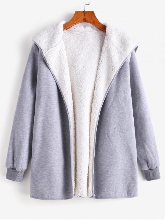 Cappotto con cappuccio foderato in pelliccia - Grigio L