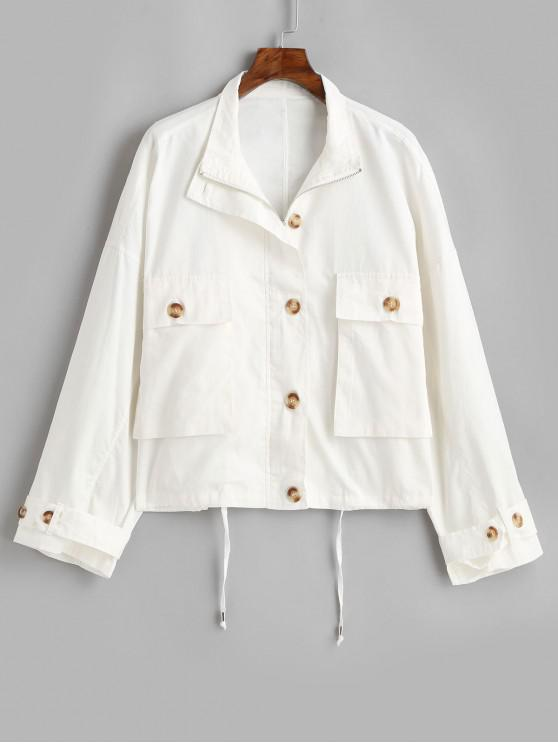 new Button Up Pockets Drawstring Waist Jacket - WHITE M