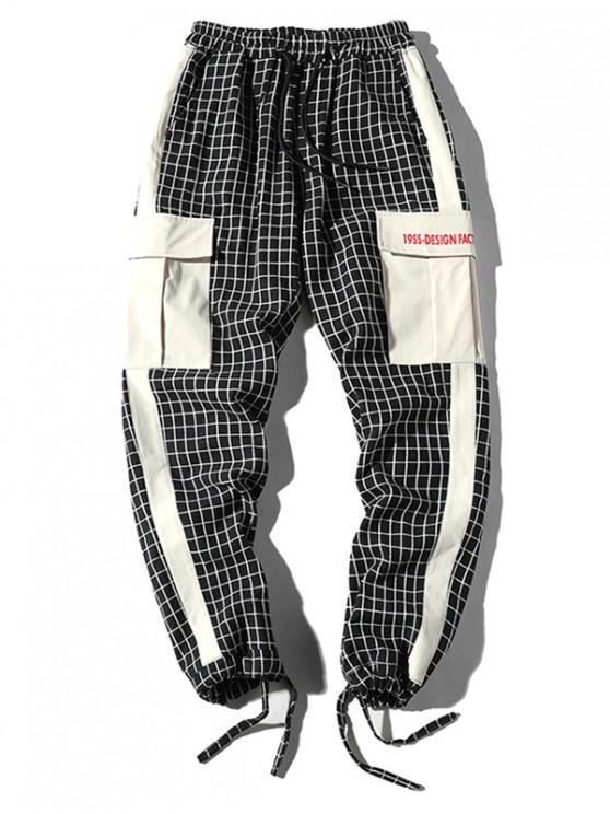 ポケット付きタータンチェック柄のジョガーパンツ - ブラック S