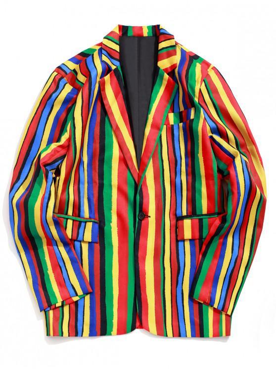 unique Casual Colorful Striped Pattern Blazer - MULTI S