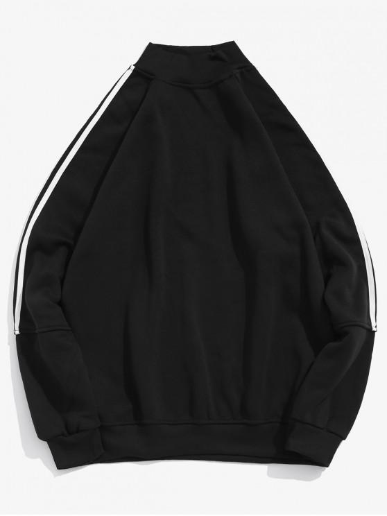 women's Raglan Sleeve Contrast Stripes Casual Pullover Sweatshirt - BLACK M
