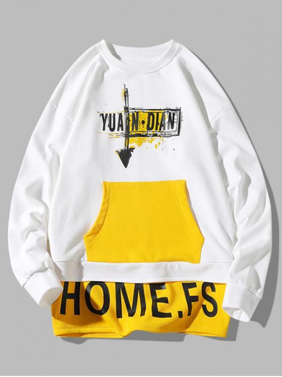 best Letter Paint Color Blocking Faux Twinset Sweatshirt - WHITE XL