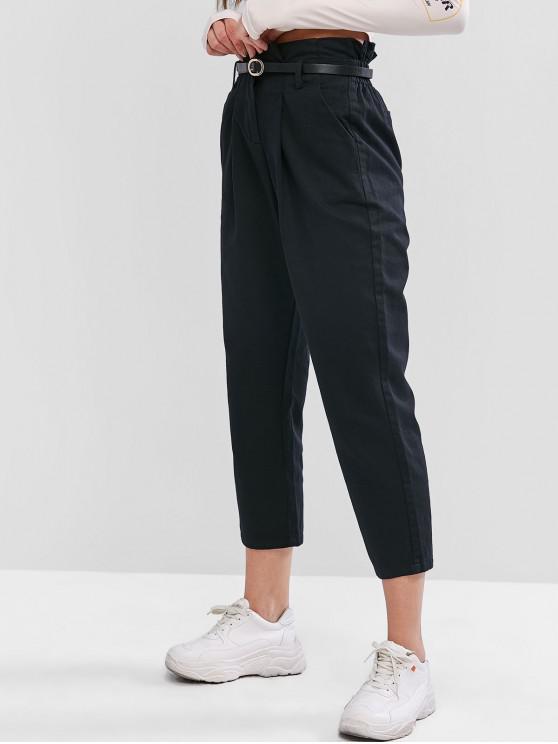 Pantalones lápiz con bolsillos de papel con bolsillos y cintura alta - Negro XL