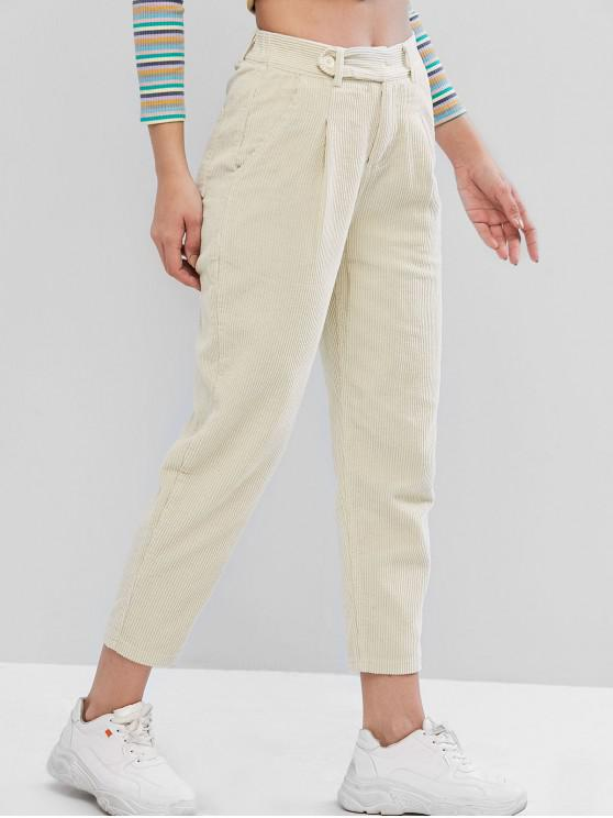 online High Rise Corduroy Pocket Pencil Pants - APRICOT XL