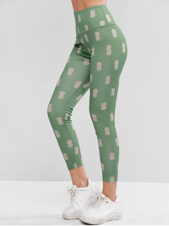 ladies Pull On Pineapple High Waisted Leggings - CYAN OPAQUE L