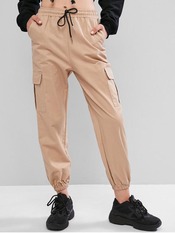 Pantalones jogger de bolsillo con cordón - Tan L