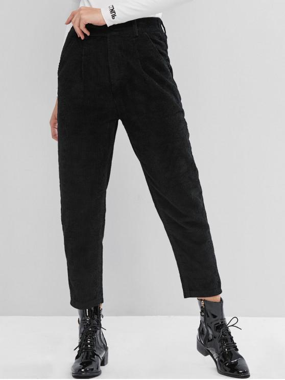 ladies High Rise Corduroy Pocket Pencil Pants - BLACK 2XL
