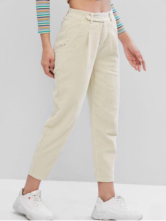 Pantalones lápiz de bolsillo de pana de gran altura - Albaricoque L