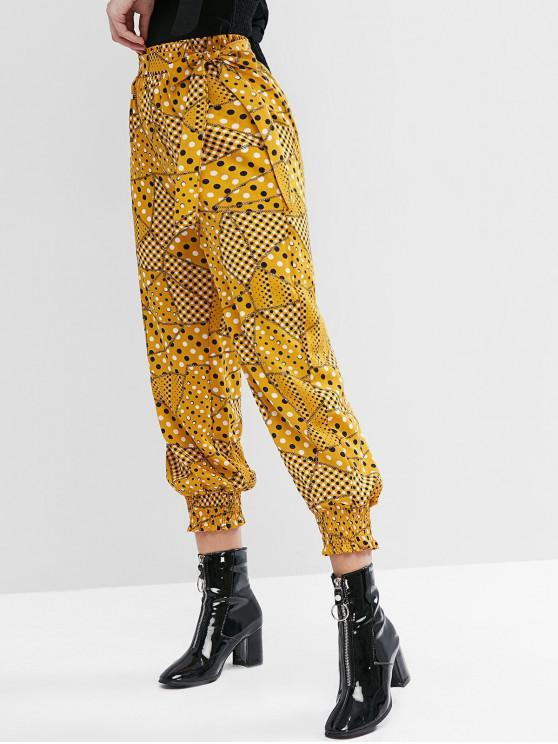 fancy Polka Dot Smocked Hem Pocket Belted Jogger Pants - YELLOW XL