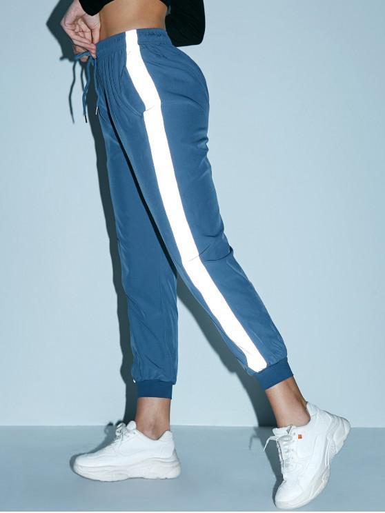 affordable Reflective Side Drawstring Pocket Jogger Pants - BLUE GRAY S