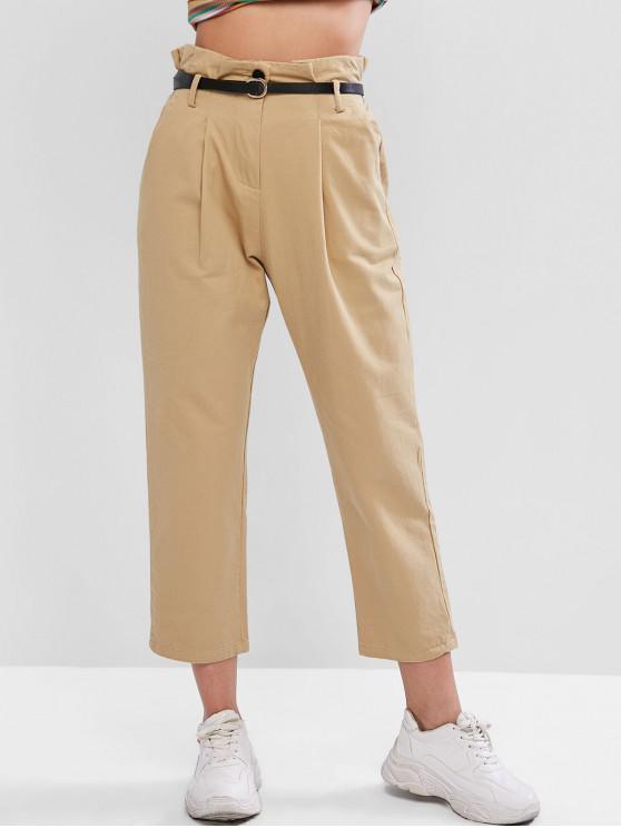Pantalones lápiz con bolsillos de papel con bolsillos y cintura alta - Caqui S