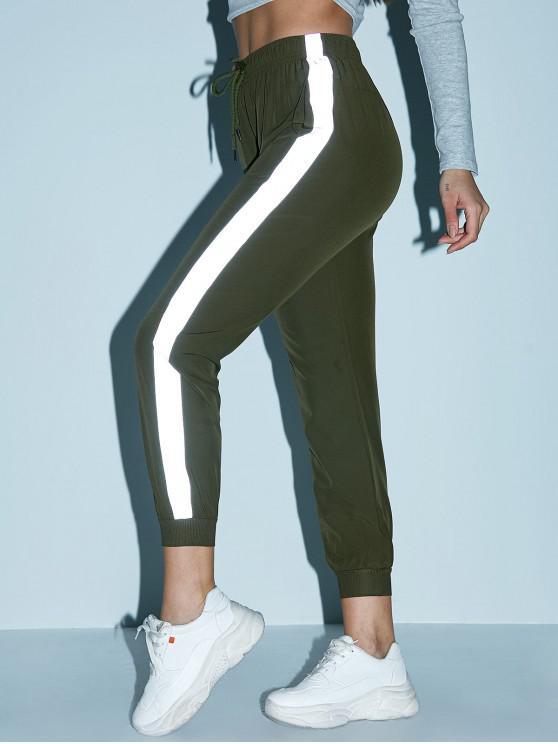 Pantalones de chándal de bolsillo con cordón lateral reflectante - Verde Camuflaje S