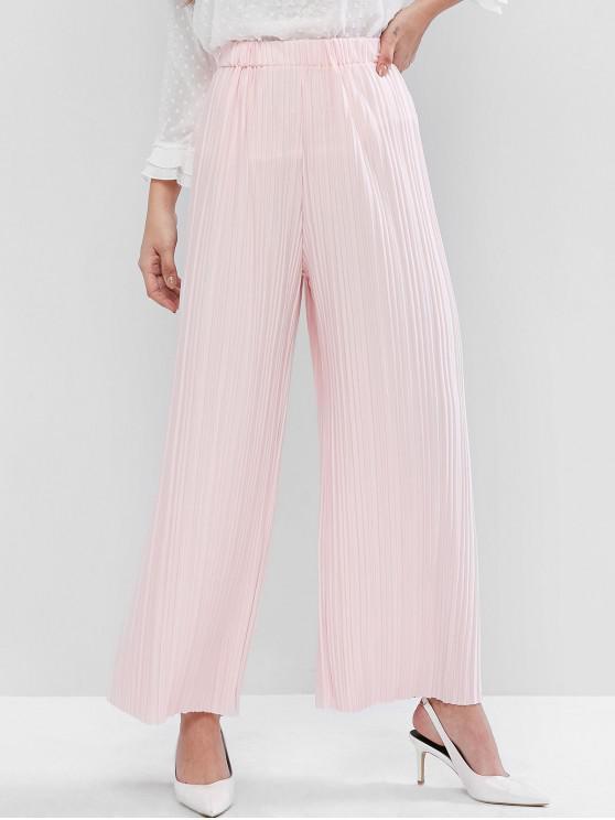 Pantalones plisados de pierna ancha y cintura alta - Rosado Talla única