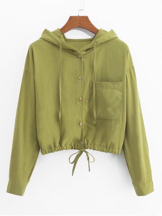 Chaqueta con capucha y dobladillo con cordón frontal - Cebolla Verde L