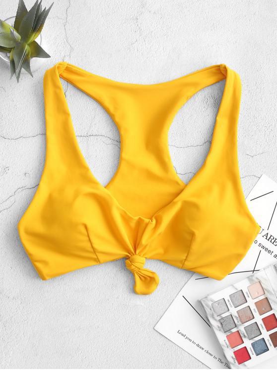 buy ZAFUL Knotted Racerback Tank Bikini Top - BRIGHT YELLOW S