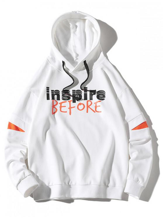 fancy Inspire Before Letter Print Colorblock Patch Pullover Hoodie - WHITE XL
