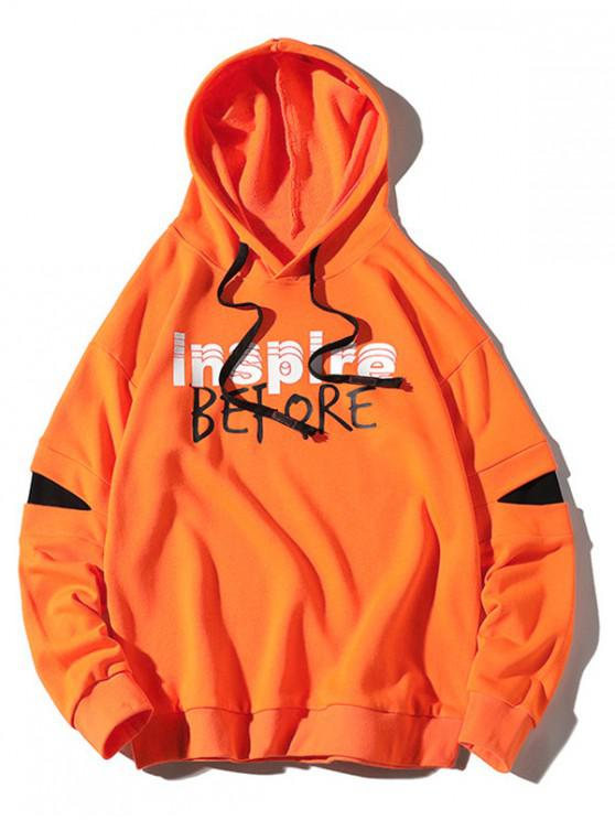 trendy Inspire Before Letter Print Colorblock Patch Pullover Hoodie - HALLOWEEN ORANGE M