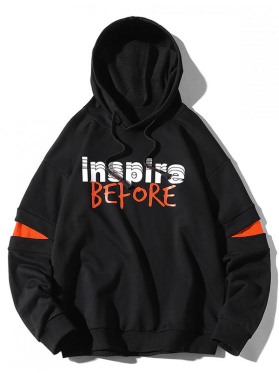 chic Inspire Before Letter Print Colorblock Patch Pullover Hoodie - BLACK M