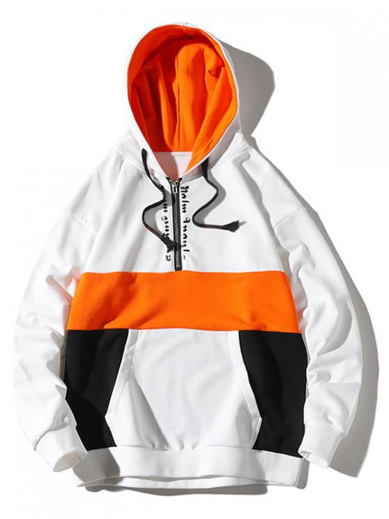 outfit Colorblocking Splicing Letter Half Zipper Hoodie - WHITE 3XL