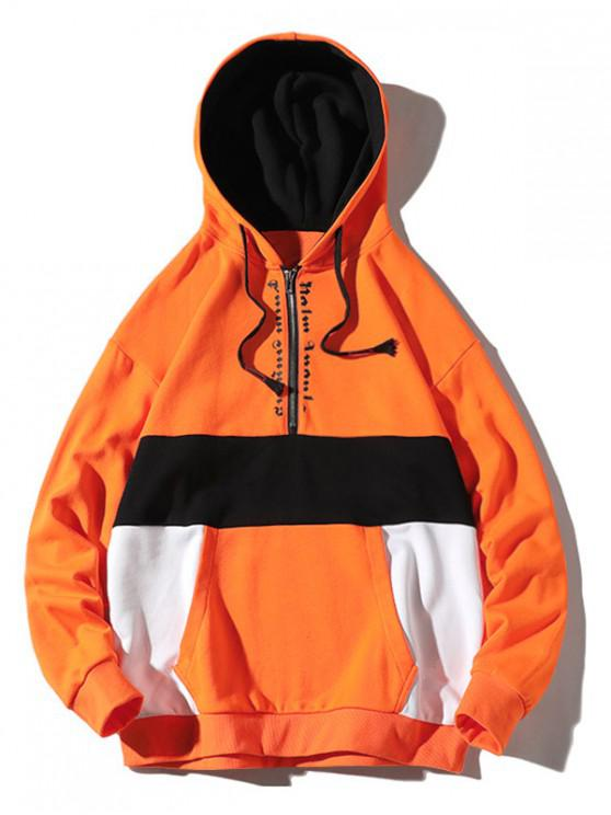 fancy Colorblocking Splicing Letter Half Zipper Hoodie - PAPAYA ORANGE 2XL