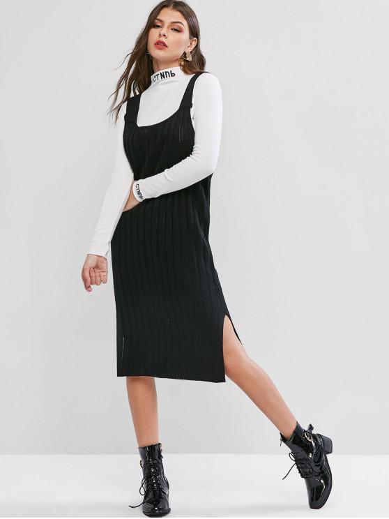 buy Side Slit Jumper Dress - BLACK ONE SIZE
