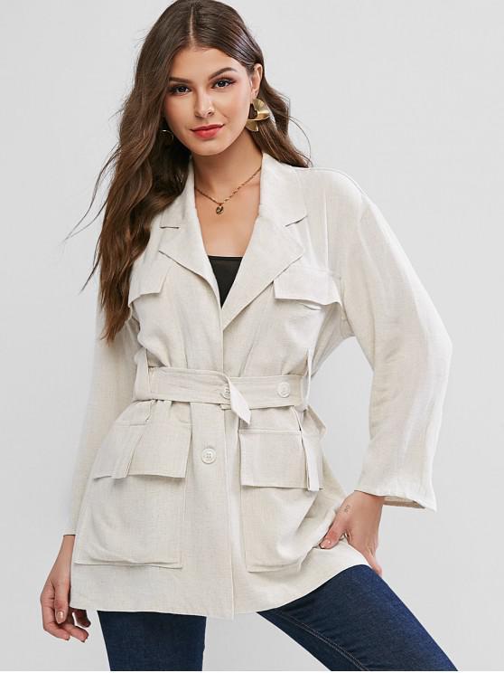 Abrigo con solapa y bolsillos con cinturón - Beige L