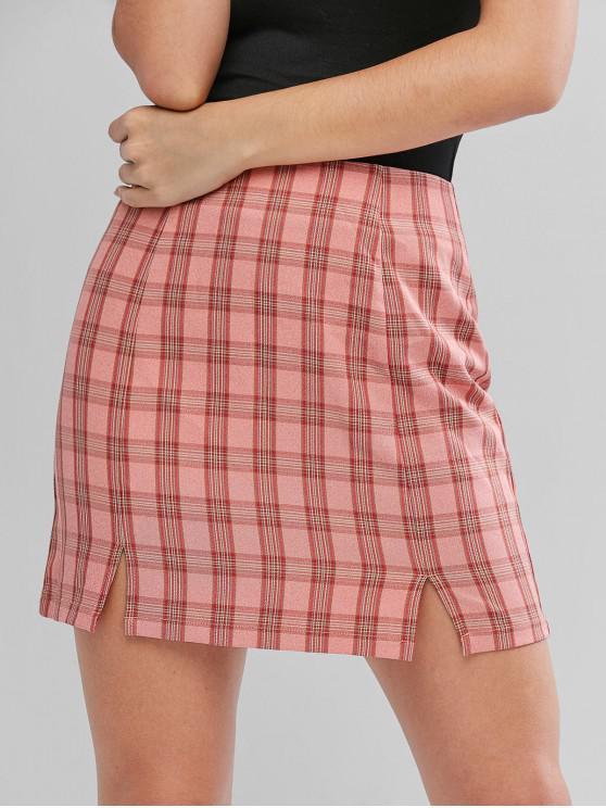 chic ZAFUL Slit Hem Plaid Skirt - MULTI S
