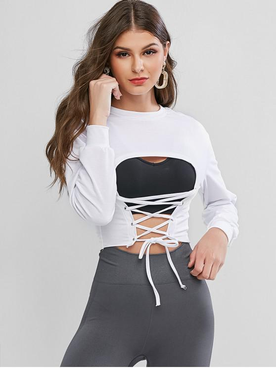 Raw Cut Lace Up Grommet Cutout Sudadera - Blanco S