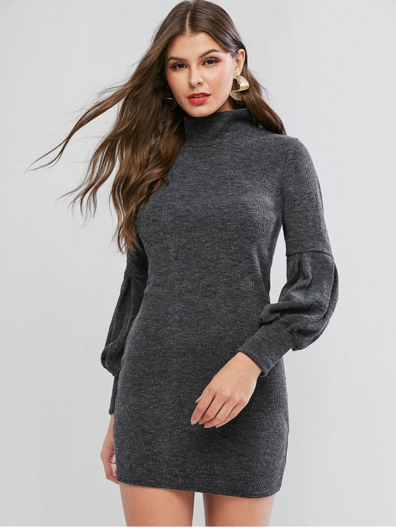 hot Lantern Sleeve High Neck Short Sweater Dress - DARK GRAY XL