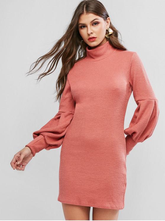 Vestido de suéter corto con cuello alto y manga linterna - Rosado XL