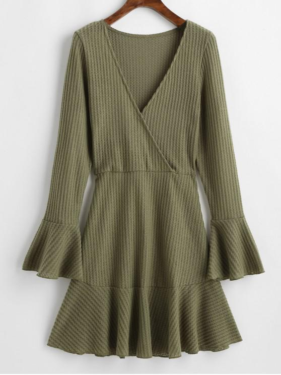 buy Flare Sleeves Ruffle Hem Solid Flare Dress - ARMY GREEN XL