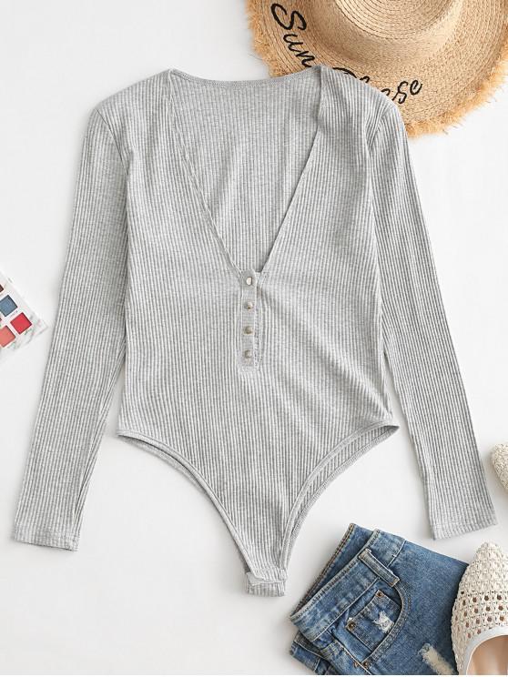 trendy Snap Button Heathered V Neck Bodysuit - SLATE GRAY S
