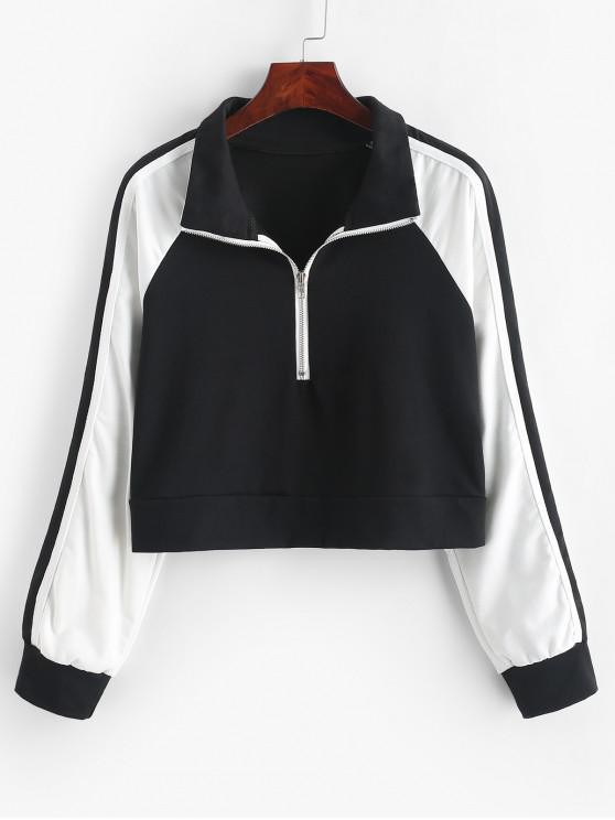 Sweat-shirt Zip en Avant en Blocs de Couleurs à Manches Raglan - Multi-A L