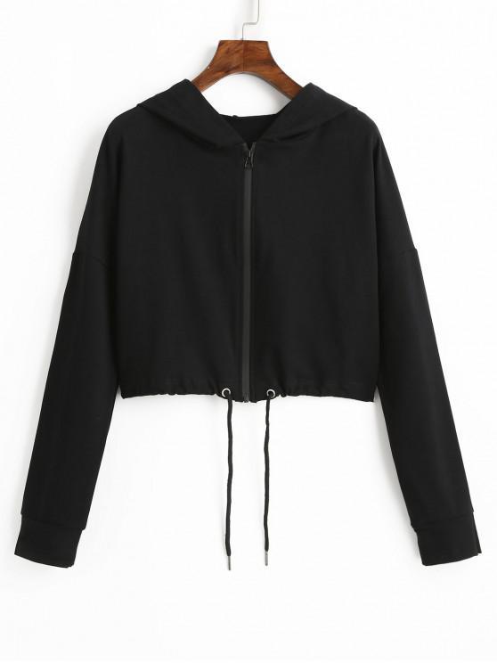 Sudadera corta con cremallera y cintura con cordón ajustable - Negro L