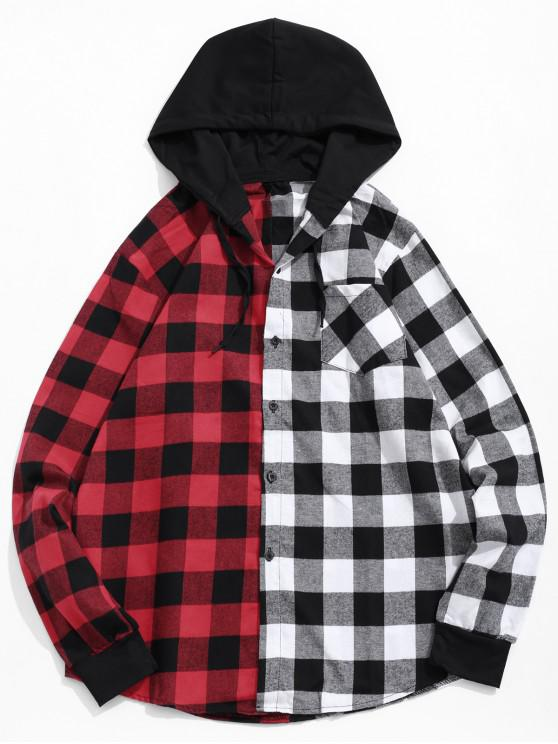 outfit Contrast Plaid Patch Pockets Hooded Shirt - MULTI-A L