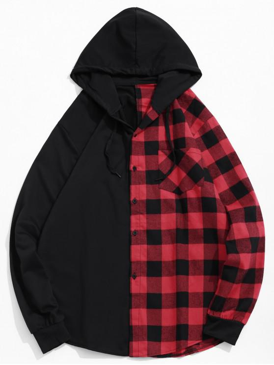 hot Contrast Plaid Patch Pockets Hooded Shirt - LAVA RED 2XL