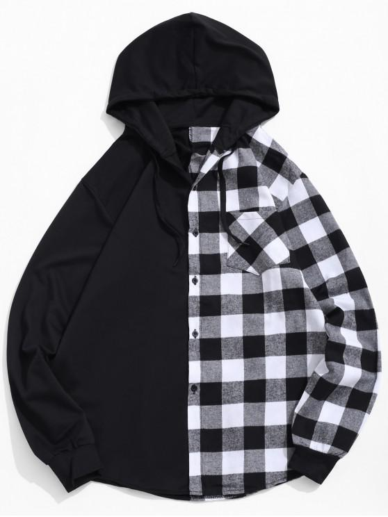 ladies Contrast Plaid Patch Pockets Hooded Shirt - WHITE XL