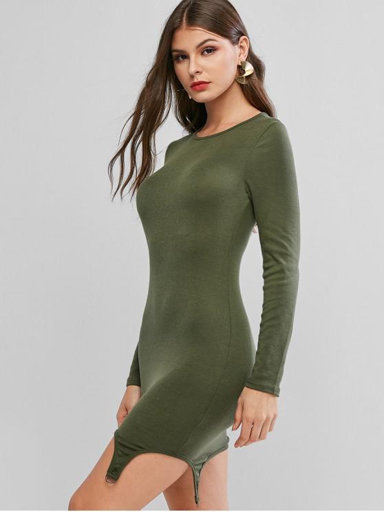 womens D Ring Long Sleeve Asymmetrical Bodycon Dress - GREEN L