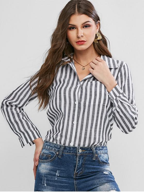 womens Striped Roll Tab Sleeve Chest Pocket Tunic Shirt - MULTI-A L