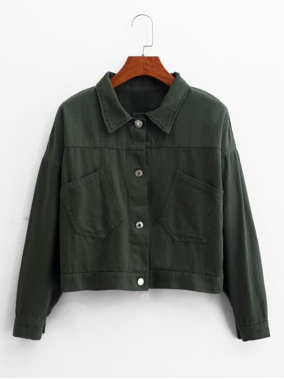 trendy Front Pocket Lace-up Jacket - DEEP GREEN ONE SIZE
