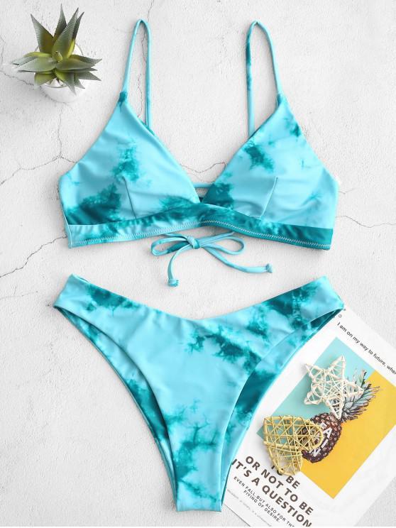 ZAFUL Tie Dye Lace-up High Leg Bikini Swimsuit - Azul-Esverdeado M