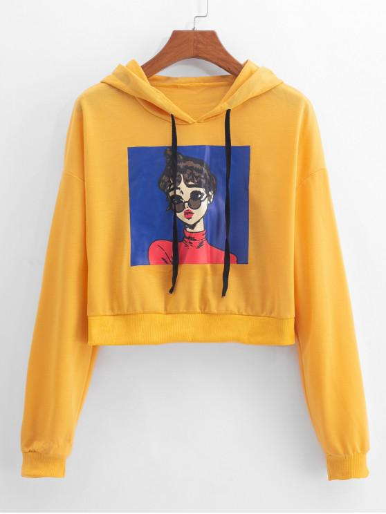 sale Girl Print Drop Shoulder Drawstring Hoodie - YELLOW L
