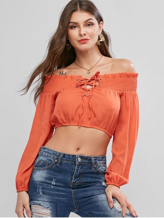 Короткая Блузка С открытыми плечами - Оранжевый XL