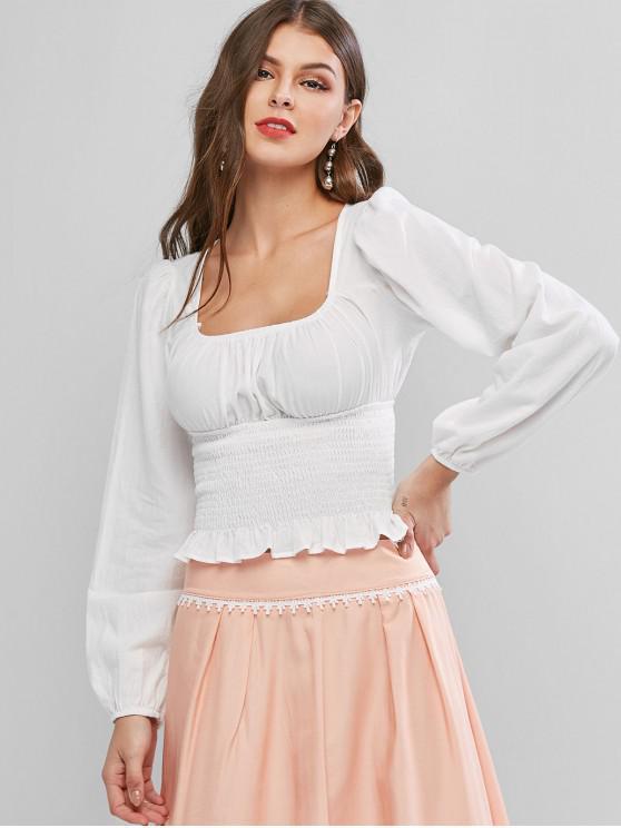 shops Plain U Neck Shirred Cropped Blouse - WHITE M