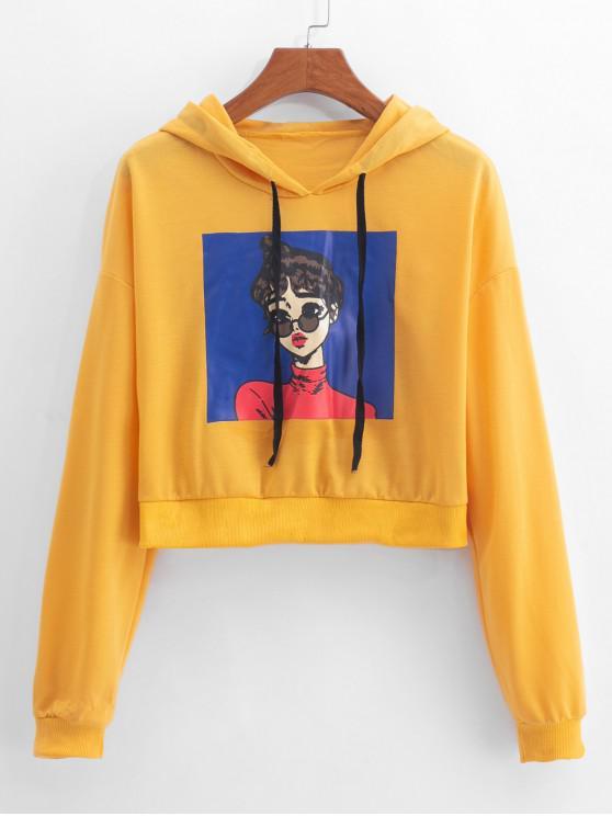 shops Girl Print Drop Shoulder Drawstring Hoodie - YELLOW XL