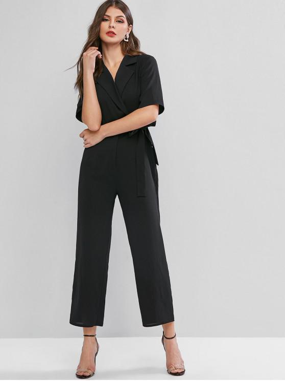 online ZAFUL Lapel Tie Waist Work Wide Leg Jumpsuit - BLACK XL