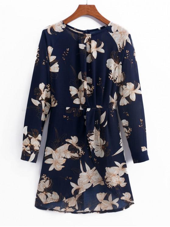women Overlap Raglan Sleeve Floral Mini Dress - MULTI-A L